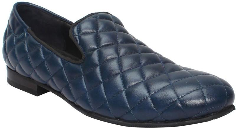 Bare Skin Blue Genuine Leather Diamond Style Slip On Shoe For Men Loafers(Blue)