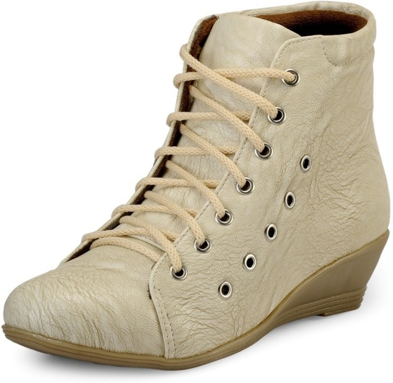 Marc Loire Loire Womens Cream Lace-up Boots Boots For Women(Natural)