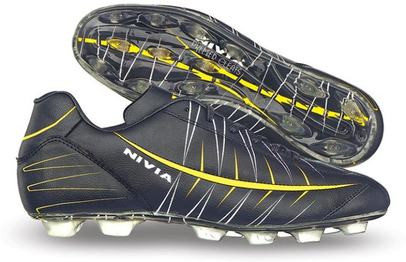 Nivia Premier Cleats Football Shoes For Men(Black, Yellow)