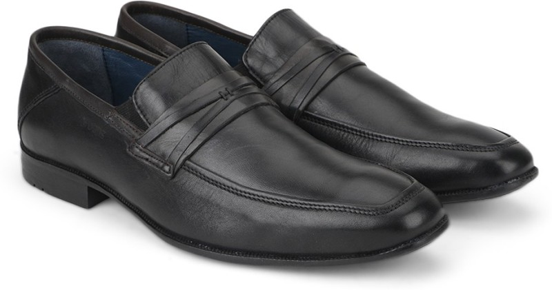 Woods Genuine Leather Slip On Shoes(Black)