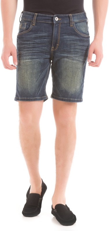 Izod Solid Mens Black Denim Shorts