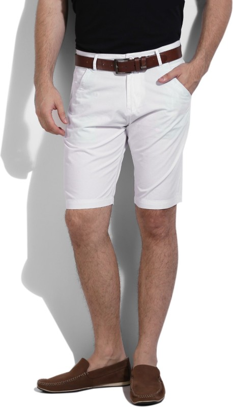 2. Pepe Jeans Solid Men's White Basic Shorts
