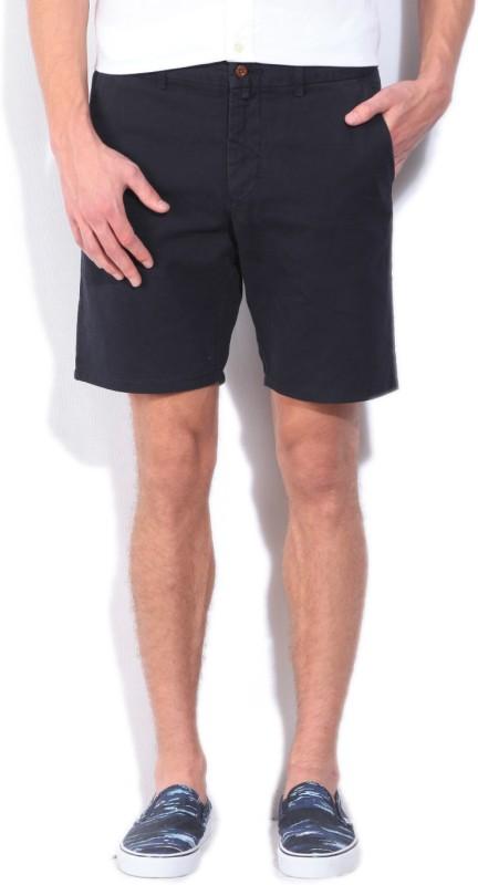 Gant Solid Mens Dark Blue Regular Shorts