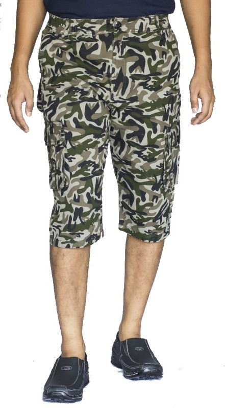 0-Degree Printed Mens Green, Black, Beige Cargo Shorts