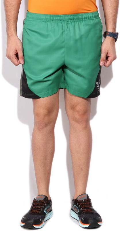 Fila Solid Mens Green Basic Shorts