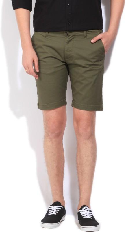 Lee Solid Mens Green Basic Shorts