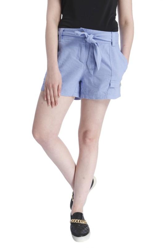 Vero Moda Solid Women's Blue Basic Shorts