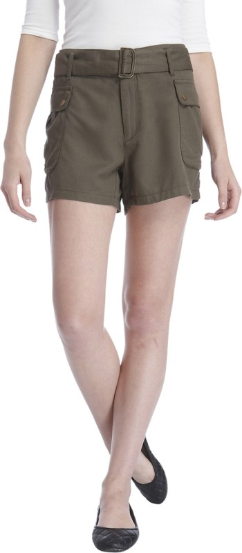 Only Solid Women's Green Cargo Shorts