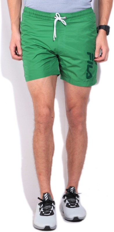 Fila Solid Mens Green Sports Shorts