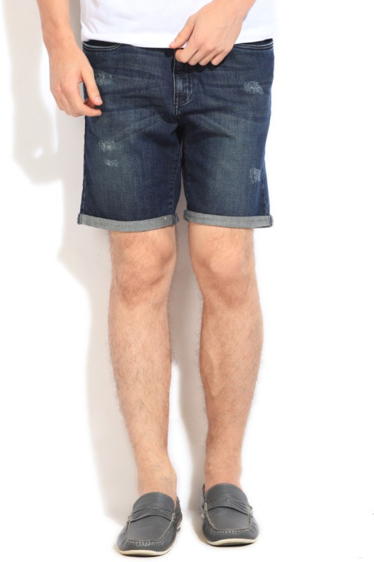 Kenneth Cole Solid Mens Blue Shorts