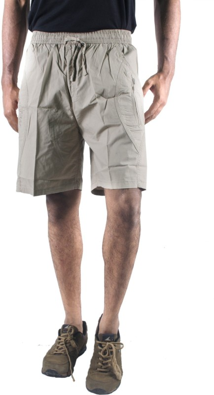 0-Degree Solid Mens Beige Chino Shorts