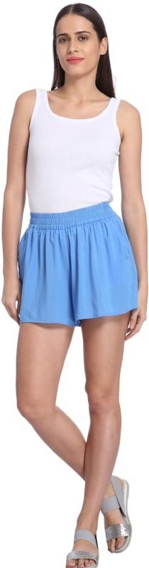 Vero Moda Solid Women's Blue Culotte Shorts
