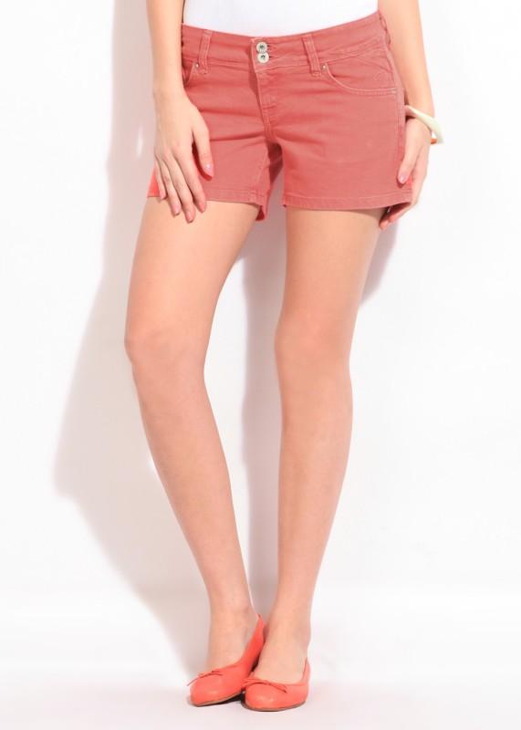Pepe Jeans Solid Women Orange Regular Shorts