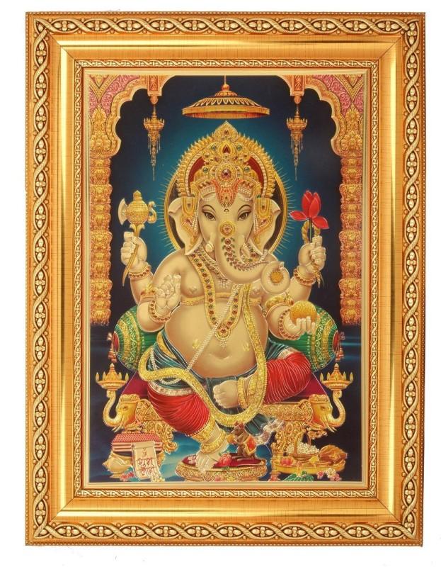 BM Traders Ganesh Decorative Showpiece  -  40.64 cm(Wood, Plastic, Gold)
