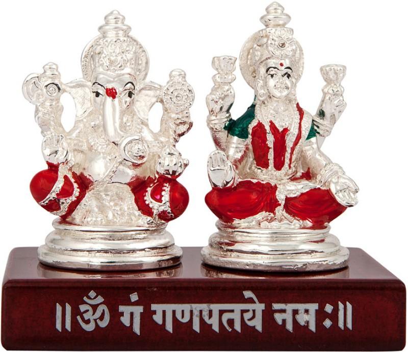 Siri Creations Lakshmi Ganesha idol with Foil and Enamel Decorative Showpiece  -  8 cm(Silver Plated, Multicolor)