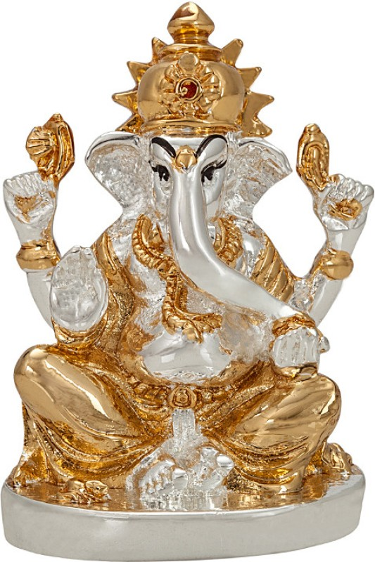 Siri Creations Silver Foil Ganesha with Gold Touch Oval base Decorative Showpiece  -  8 cm(Silver Plated, Silver)