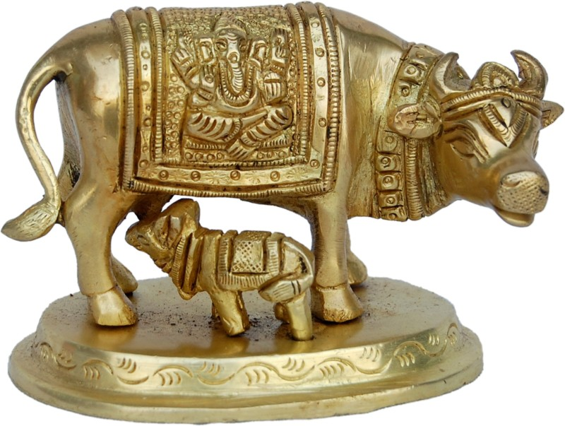 Aakrati Cow And Calf Small Size Metal Decorative Statue Showpiece - 7.62...