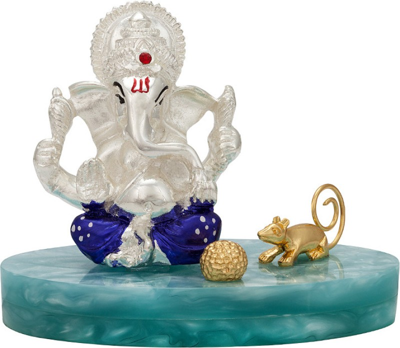 Siri Creations Ladoo Plated Ganapathi Decorative Showpiece  -  8.5 cm(Silver Plated, Silver)