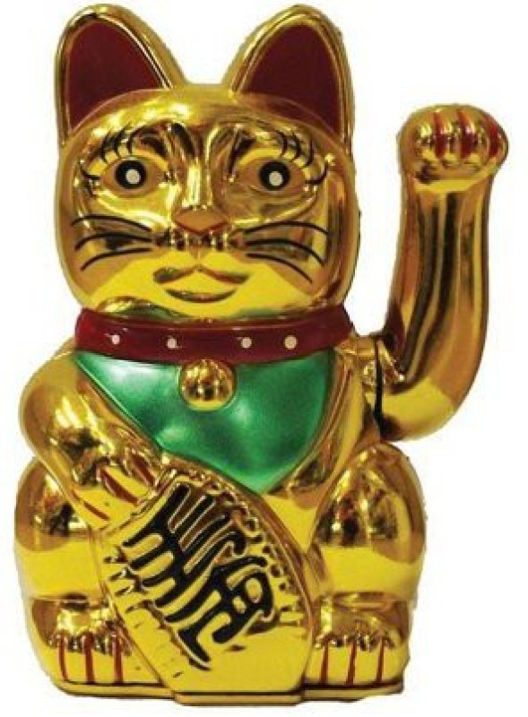 Gooddeals Feng Shui Welcome Cat With Waviing Arm Big 19x11 Decorative Showpiece  -  19 cm(Polyresin, Gold)
