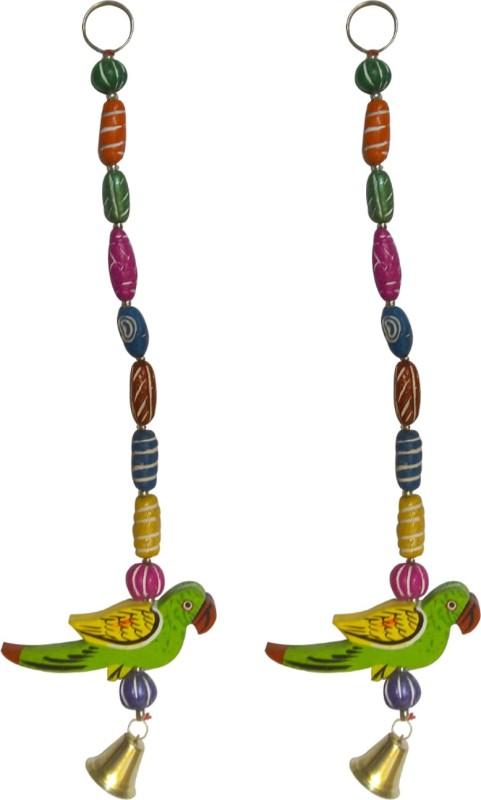 SwadesiBuyzzar Set of 2 Door Chain Parrot Figure 1 Feet Long Wood, Ceramic Jharokha(6 cm x 1 cm Handcrafted)