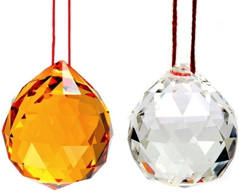 Subh Store Fengshui Hanging Crystal Ball 40mm Sphere Prism Faceted Sun Catcher Combo of 2 Decorative Showpiece  -  5 cm(Glass, Yellow)