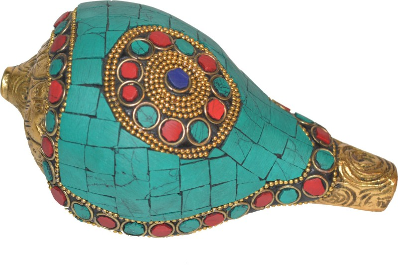 Aakrati Metal Shankh (Shell) with turquoise work. Decorative Showpiece - 7.5 cm(Brass, Multicolor)