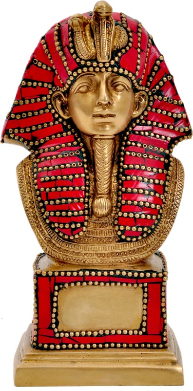 Aesthetic Decors Ancient Egypt King W Red Stone Decorative Showpiece - 17 cm(Brass, Multicolor)