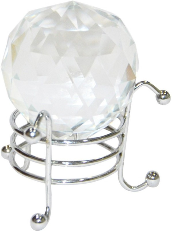 Kraft Village Clear Crystal Ball with Stand for Positive Energy Decorative Showpiece  -  5 cm(Glass, Clear)