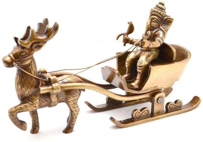 Aakrati Ganeshas sleigh riding reindeer Brass Statue Decorative Showpiece - 10 cm(Brass, Brown)