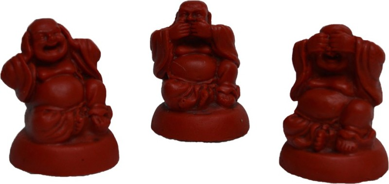 eCraftIndia Set of 3 Laughing Buddha - Red Decorative Showpiece  -  6.35 cm(Polyresin, Red)