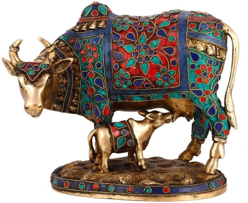 Aakrati Beautiful Decorative Cow and Calf Brass Stone Work Statue Showpiece -...