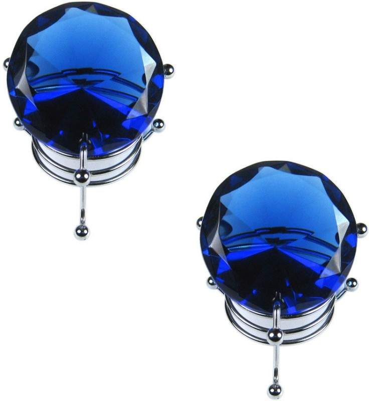 Shakti Hanging Blue Crystal Diamond 50mm With Steel Stand Combo of 2 Decorative Showpiece  -  4 cm(Glass, Blue)