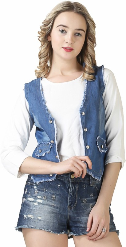 Ela collection Sleeveless Solid Women Denim Jacket