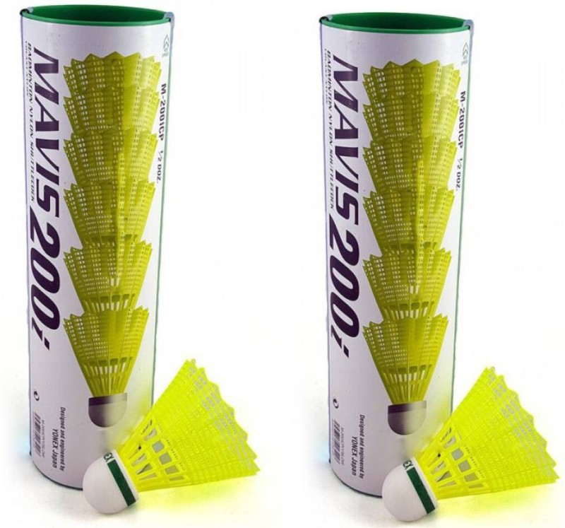 Yonex Mavis 200 i Green Cap Nylon Shuttle  - Yellow(Slow, 75, Pack of 12)