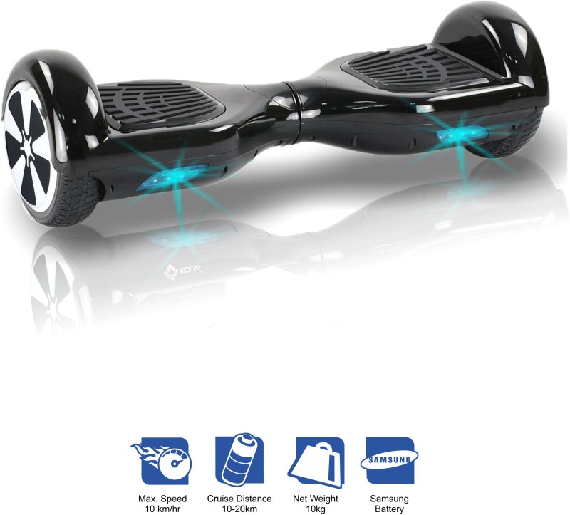 Kiiwi Electric Hands Free 2 Wheels Self Balancing Scooter Black Quad Roller Skates - Size 6-12 UK(Black)