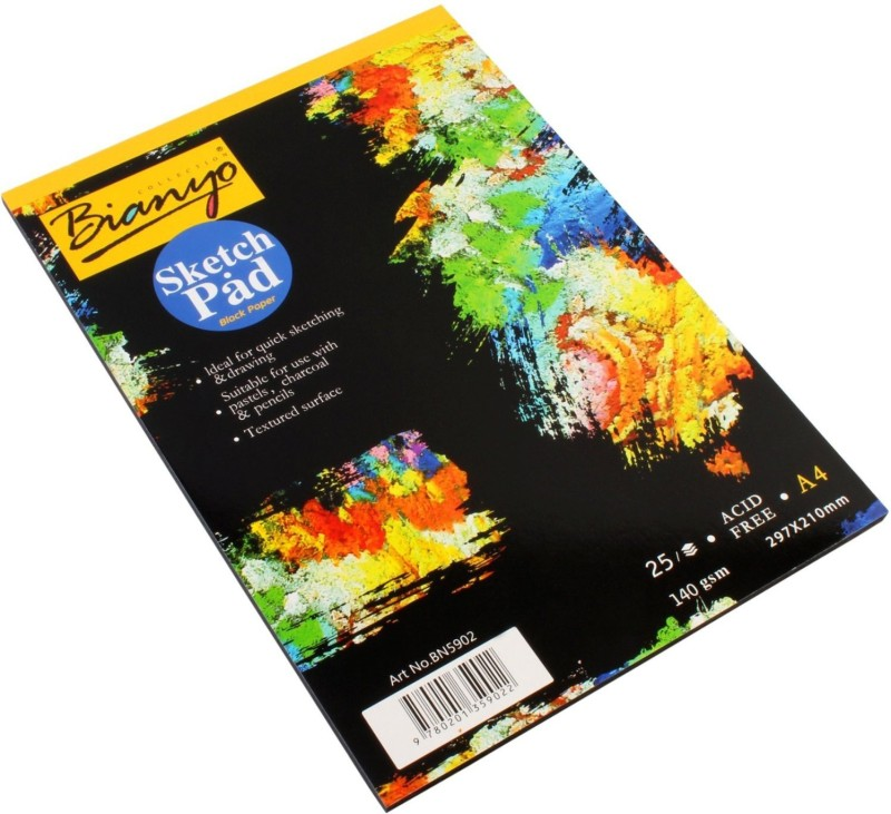 Bianyo Hardback A4, 140 GSM, Black Paper Artist's Drawing Sketch Pad(Black, 25 Sheets)
