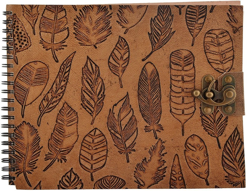 hare Krishna handicrafts Pankh emboss leather handmade paper Sketchbook Sketch Pad(Tan, 50 Sheets)