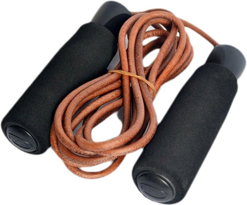 Kobo Leather Weighted Skipping Rope(Black, Brown, Length: 275 cm)