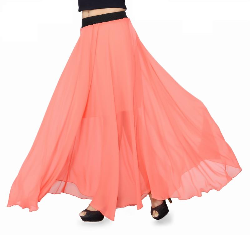 Ishin Solid Women's Regular Orange Skirt