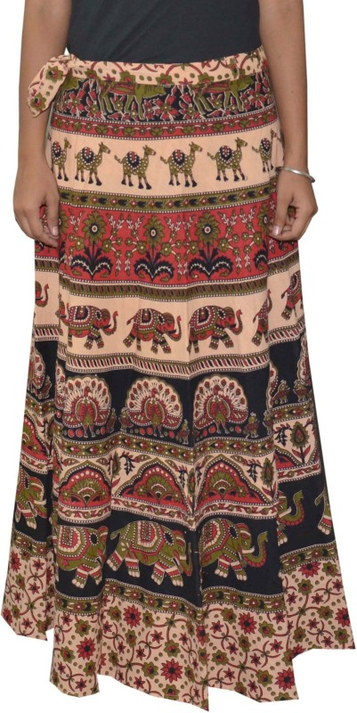 Pezzava Printed Women's Wrap Around Black, Red Skirt