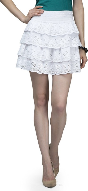 Cherymoya Self Design Women's A-line White Skirt