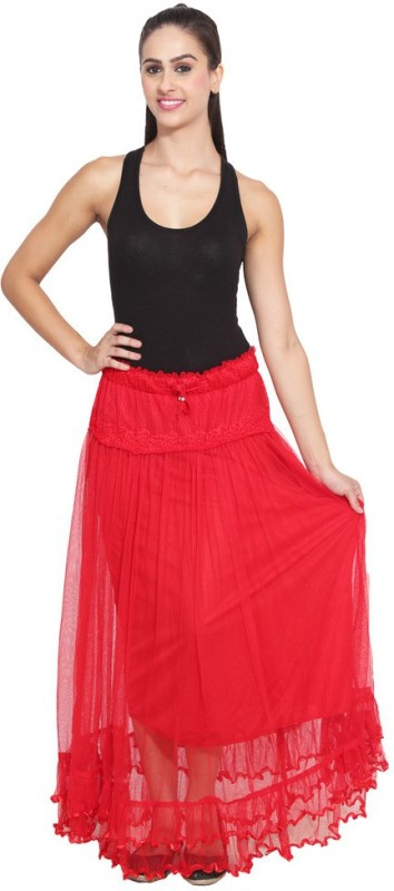 c43ef249837 NumBrave Self Design Women s Layered Red Skirt