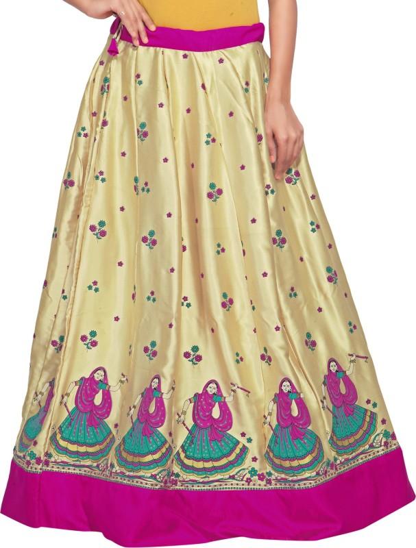 Admyrin Printed Women's Wrap Around Gold, Pink Skirt