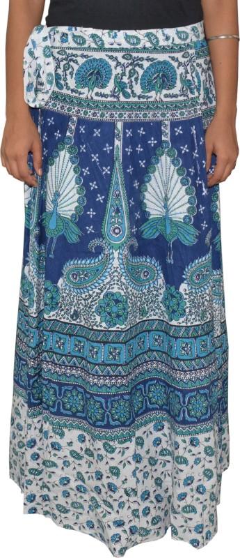 Pezzava Printed Women's Wrap Around Blue, White Skirt