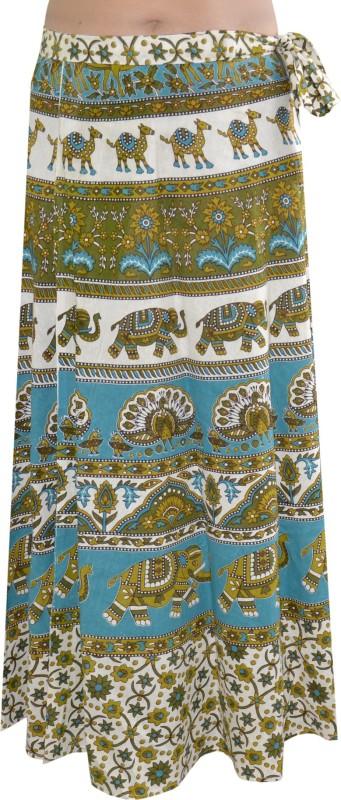Pezzava Printed Women's Wrap Around White, Green Skirt
