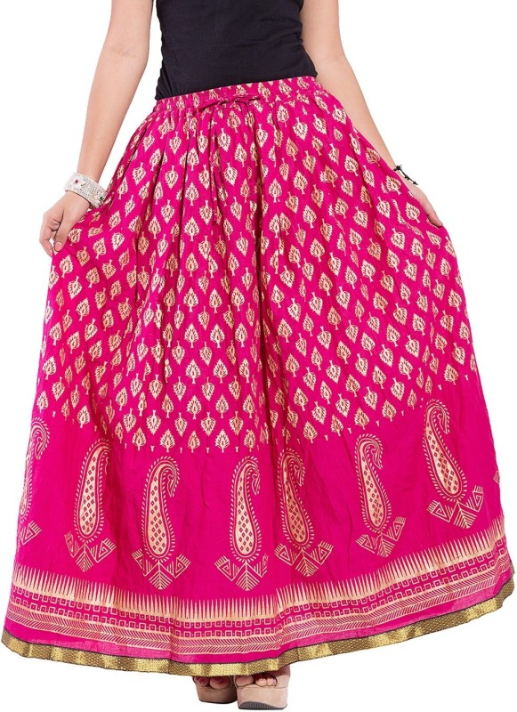 Magnus Self Design Women's Regular Pink Skirt