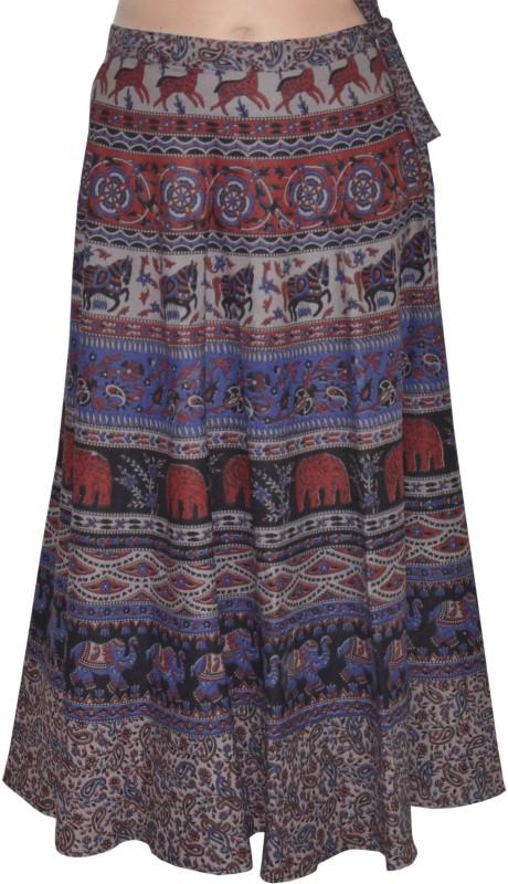 Pezzava Printed Women's Wrap Around Blue, Red Skirt