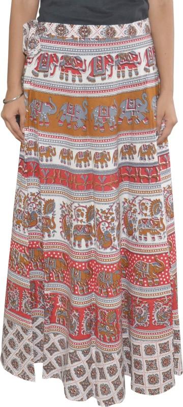 Pezzava Printed Women's Wrap Around White, Red Skirt