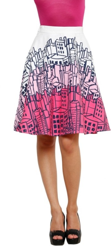 99 Hunts Printed Womens A-line Multicolor Skirt