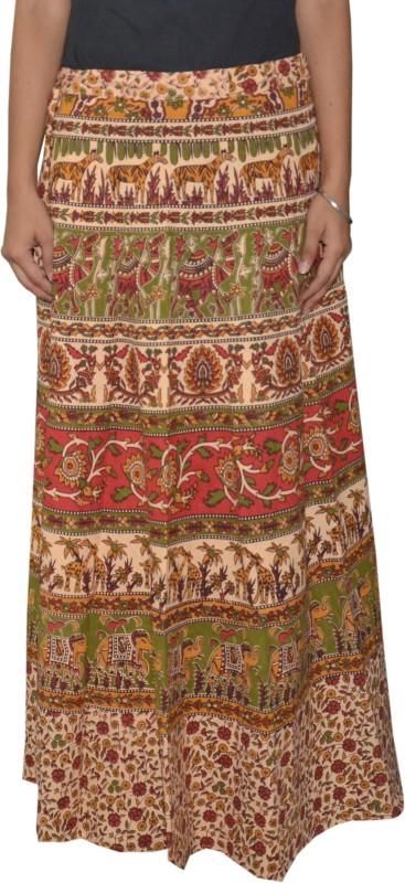 Pezzava Printed Women's Wrap Around Green, Red Skirt
